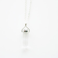 Clear Quartz Silver pendant and chain