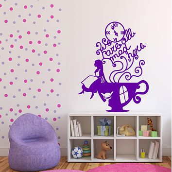 Vinyl Wall Sticker Alica and Cheshire Cat in Wonderland illustration Unique Gift (n676)