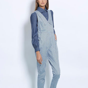 Womens jumpsuit, printed jumpsuit, blue jumpsuit, straight leg, elegant jumpsuit, collared jumpsuit, overalls, romper