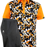 Camo Men's Polo & Golf Shorts (Orange/Black)