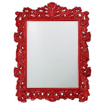"Howard Elliott Napoleon Glossy Red Mirror 63"" x 85"" x 2"""