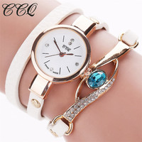 CCQ Brand Watch Women Luxury Gold Eye Gemstone Dress Watches Women Gold Bracelet Watch Female Leather Quartz Wristwatchess C53