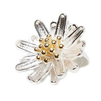 Cute Sunflower Daisy Necklace Pendant Silver Plated