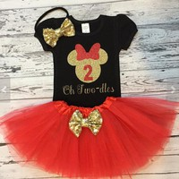 Personalized red black Minnie Mouse 1st birthday Tutu Dress Shirt with Headband Outfit