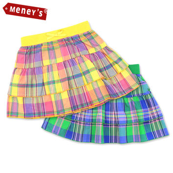 Meney's SD-004 Plaid Skirt Girl 2016 100% Cotton Baby Girls Clothes Double Layer A-Line Skirts for Kids Bow Children Pettiskirt