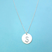 Initial, Disc, Necklace, Upper, Letter, Necklace, Circle, Necklace, Personalized, Jewelry, Birthday, Friendship, Gift, Simple, Initial Gift