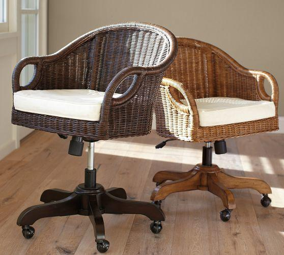Pottery Barn Hanging Chairs: Wingate Rattan Swivel Desk Chair From Pottery Barn