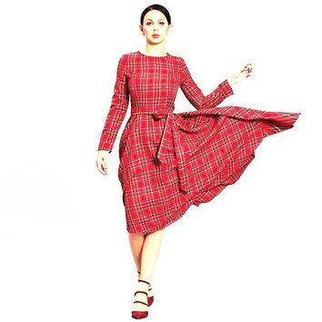 Red Long Sleeve Plaid Patchwork 3D Bowknot Elegant Retro Midi Dress