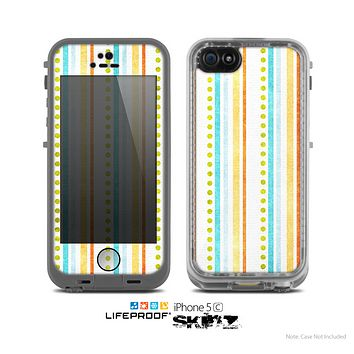 The Vintage Colored Stripes Skin for the Apple iPhone 5c LifeProof Case