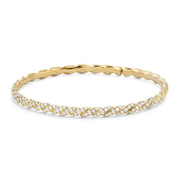 David Yurman 3.4mm Paveflex 18K Gold Bracelet with Diamonds