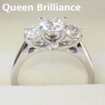 Ring. 14k 585 White Gold 2 cttw G-H Engagement Wedding Moissanite Diamond Ring 3 Stone,Anniversary Ring Gift