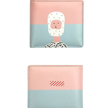 Yizi Leather Folded Wallet | Pink Face