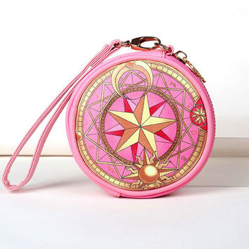 FVIP Anime Card Captor Sakura The Clow Round Wallet Cosmetic Makeup Coin Pouch Sakura Kinomoto Sealing Wand Key Zipper Bag