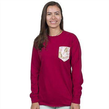 Chi Omega Long Sleeve Tee Shirt in Barn Red with Pattern Pocket by The Frat Collection - FINAL SALE