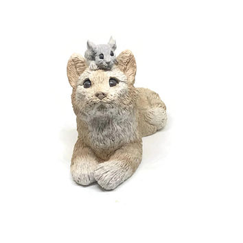 Vintage Stone Critters Cat and Mouse Decor / Zoo Wildlife Nursery / Vintage Cat and Mouse Figurine / Vintage Collectible / Made in America
