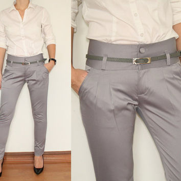 Slim Fit Pants High Waisted Trousers in Shiny Silver Gray Office Fashion