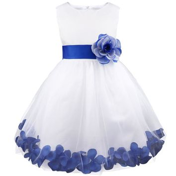 Little Girls White with Royal Blue Flowers Tulle Flower Petals Fancy Dress Perfect for Weddings Pageants ETC