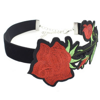 Casual Red Rose Choker Necklace