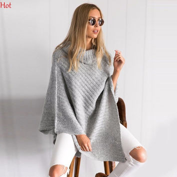 Fashion Autumn Women Clothing Turtleneck Sweater Knitted Batwing Poncho Design Cape Wrap Pullover Irregular Sweater SVH031719