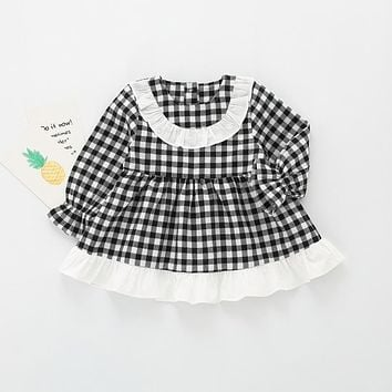 Preppy Style Autumn Long Sleeve Baby Infants Girls Kids Ruffles Plaid Tutu Princess Doll Collar Party Tartan Dress Vestido S5728