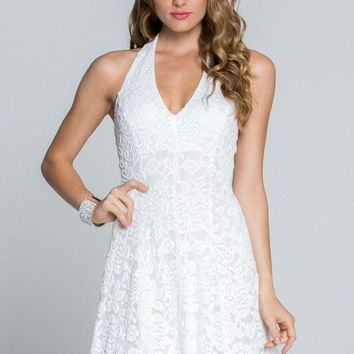 Tricks Of The Trade Enchantment White Lace Halter Dress