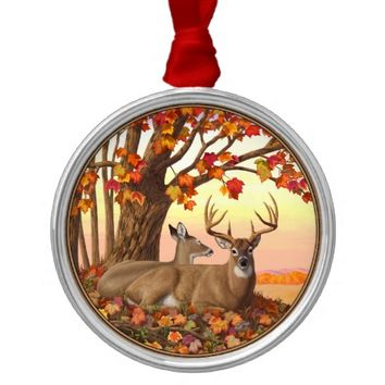 Whitetail Deer Autumn Maple Tree Round Metal Christmas Ornament