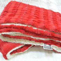 Tache Red Polar Faux Fur with Sherpa Throw Blanket 50 x 60