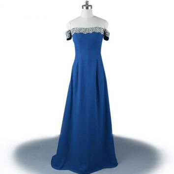Long Chiffon Navy Blue High Neck See Through Beaded  Dresses A-Line Floor-Length Evening Dress