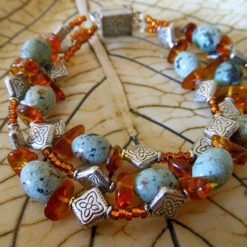 Beaded bracelet triple strand African turquoise by ChelseaJewels