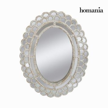 Aged white oval mirror