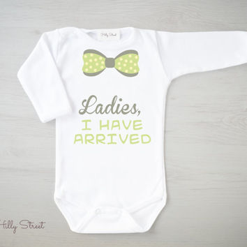Ladies, I Have Arrived Baby Romper. Funny Baby Boy Clothes. Bowtie Baby Shirt. Long Sleeve Bodysuit. Funny Baby Gift. Birth Announcement