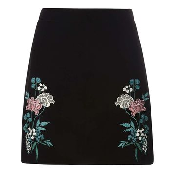 Black Embroidered Velvet Skirt