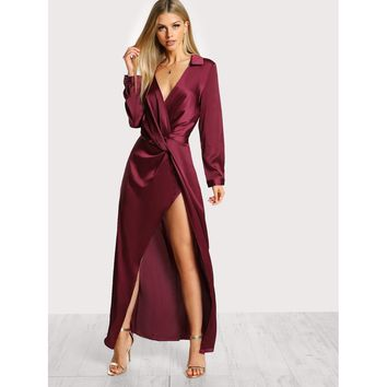 Satin Front Twist Wrap Dress