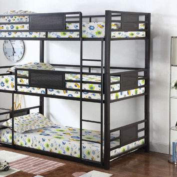 Triad Twin Size Metal Triple Bunk Bed