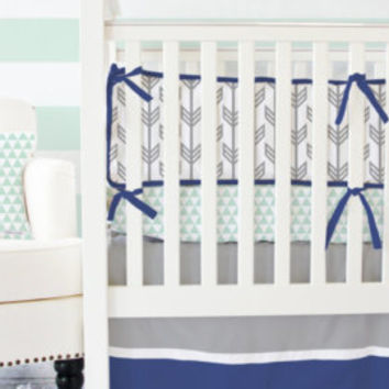 Navy & Mint Arrow Baby Bedding - SWATCH SET