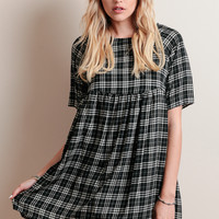 Cutting Class Plaid Babydoll Dress