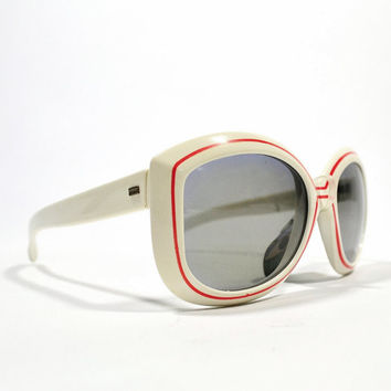 1960's 70's Cool-RSay Polarized Polaroid Red Stripe Summer Whites Sunglasses nos