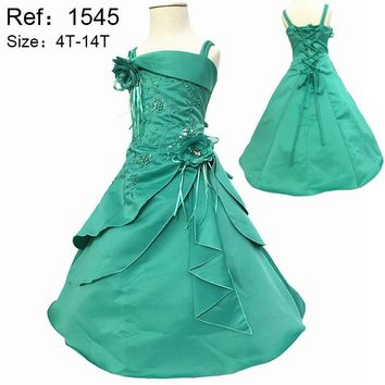 Hot Sale 2017 New Arrival 2-14 years Kids Evening Gowns Satin Embroidery Mint Flower Girl Dresses For weddings Child Party Dress