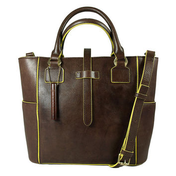 Baimiao medium yellow leather tote