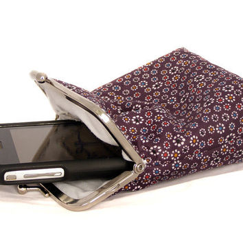 Iphone 5 Case Fabric - Cigarette Case Fabric - 5, 4, 4S, 3GS, Large Cell Phone - Purple with Little Flowers 100% cotton - Silver Frame