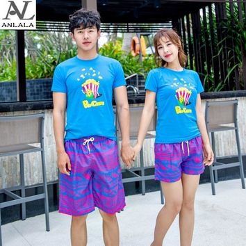 summer seaside Couple short pants Quick-drying Rose red diamond printing  Beach pants surfing
