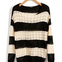 Batwing Sleeves Crochet Sweater in Stripe Print