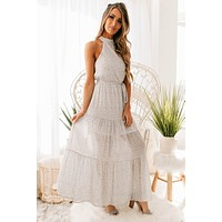 Ready For Love Tie Waist Tiered Maxi Dress (Off White)