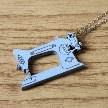 Retro Sewing Machine Wood Necklace