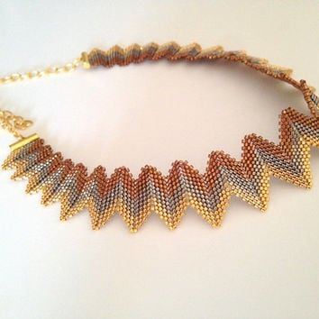 Beaded collar necklace , peyote necklace , gold copper and silver beaded necklace , gold plated cleopatra  necklace , miyuki beads necklace