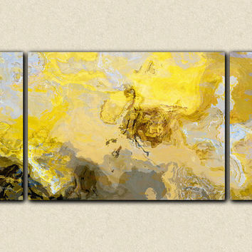 "Abstract art print triptych large canvas print, 30x60, in yellow, gray and white, from abstract painting ""Mellow Yellow"""
