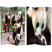 Oriental Furniture CV-PANDA Panda Bears Double Sided Room Divider, Width - 48 Inches