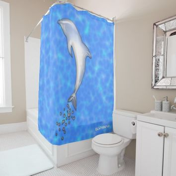 Jumping Sparkling Blue Dolphin With Bubbles Shower Curtain