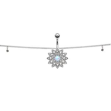 BodyJ4You Belly Chain Jeweled Adjustable Dangle Waist Jewelry Navel Ring Flower Created-Opal Center Body Chain