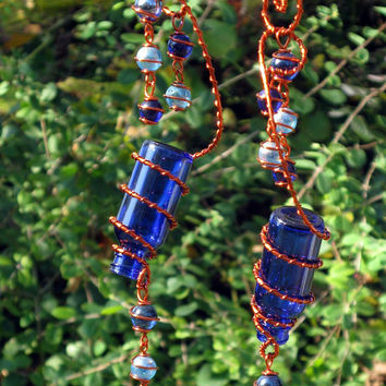 Garden Decor Suncatchers, Set of 2 Little Blue Spirit Bottles With Copper Wire Wrapped Deep Sea & Azure Blue Glass Marble Prisms